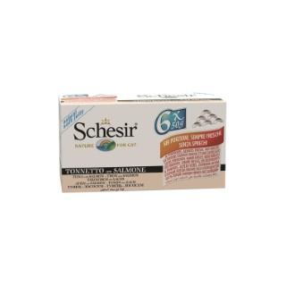 Pâtée pour chat Schesir au Thon et Saumon Pack de 6 boites de 50 g 234553