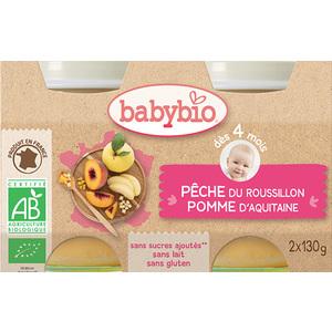 Petits pots pêche et pomme Babybio 2 x 130 g 248203