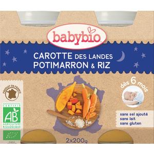 Pots de Carotte potimarron et riz bonne nuit Babybio 2 x 200 g 248218