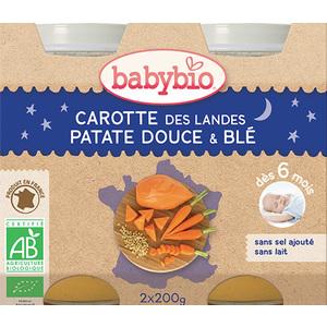 Pots de carotte patate douce et blé bonne nuit Babybio 2 x 200 g 248219