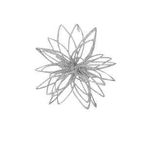 Boule pétales de fleur pailletée argent 10 cm