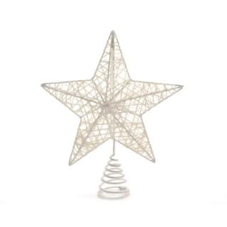 Cimier de sapin étoile métallique blanc D 20cm 249961