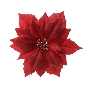Poinsettia en tissu rouge sur clip D 24cm