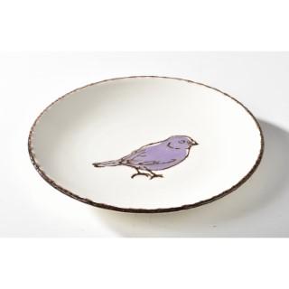 Assiette dessert oiseau mauve