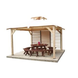 Tonnelle spacio avec vantelles mobiles 1 paroi / livre 3,54 x 3,54 m au sol