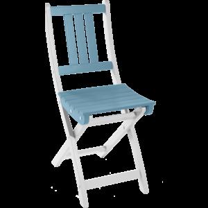 Chaise bicolore pliante à lattes muscade/bleu