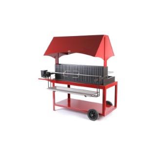 Barbecue à Méchoui avec hotte de couleur rouge