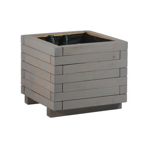 Bac MADRIER carré mélèze cérusé gris 40x40x35,5 cm