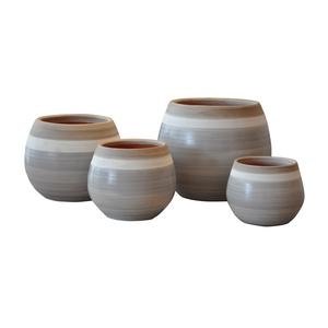 Pot Cancale esprit délicatesse en terre cuite émaillée H 14 x Ø 14 cm