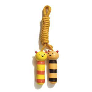 Corde à sauter en bois ourson jaune et orange