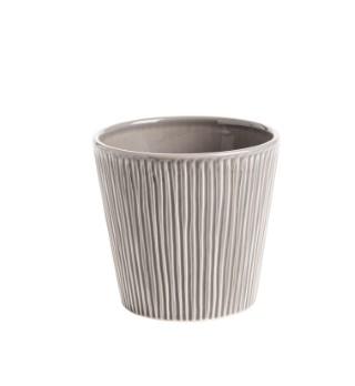 Cache-pot Riscado gris Ø 12,5 x H 12 cm