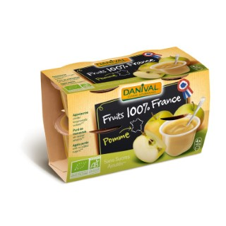 Dessert de fruits bio pomme nature - 400 gr 279852