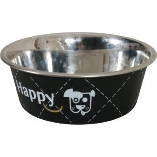 Écuelle en inox happy noire de diamètre 17 cm 280662