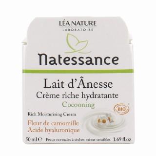 Crème riche hydratante lait d'ânesse bio Natessance 50 ml 281115