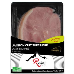 Jambon cuit supérieur bio avec couenne en barquette de 90 g 281288
