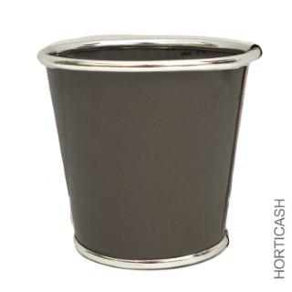 Cache-pot taupe et zinc Ø 13,5 x 12,7 cm