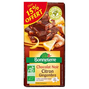 Chocolat noir citron gingembre dont 15% gratuit BONNETERRE