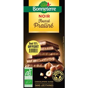 Chocolat noir fourré praline dont 15% gratuit BONNETERRE