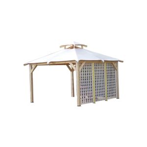 Tonnelle 4 pentes treillage bois couverture bache livré 3,54 x 3,54 m au sol