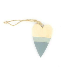 Cœur en bois et bleu à suspendre