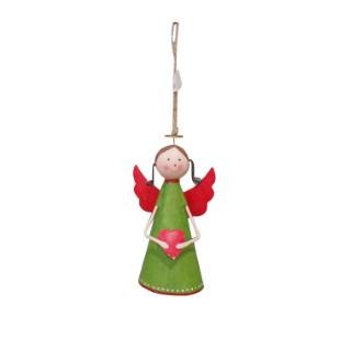 Ange avec cœur à suspendre 12,5 cm métal 284338