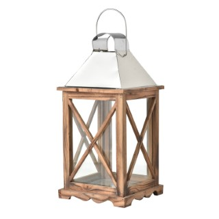 Lanterne en bois et acier affiné