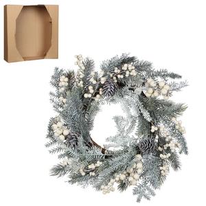 Couronne de Noël artificielle enneigée avec baies blanches D 35 cm