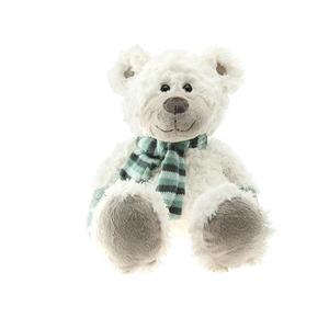 Ours blanc, écharpe rayée bleue 30 cm