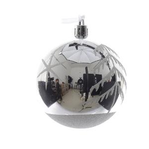 Boule de Noël plastique décors arbre paillettes D 8cm 286320