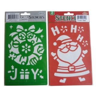 Pochoir x 2 Père Noël rouge /Joy vert 25x14,5 cm 286807
