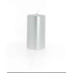Bougie cylindrique métal argent 6x11 cm 287577