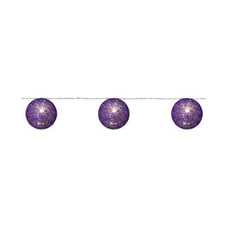 Guirlande 20 Boules Coton Camaïeu Violet 24v