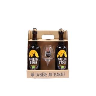 Pack 2 bières 75cl + 1 verre MOULIN D'ASQ