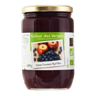 Purée Pommes Myrtilles Bio 630 G RETOUR DES VERGERS