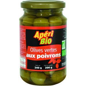 Olives vertes aux poivrons bio – 340 gr 291214