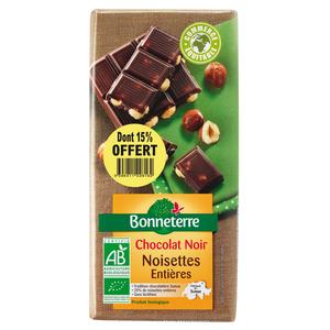 Chocolat noir noisettes entières dont 15% gratuit BONNETERRE