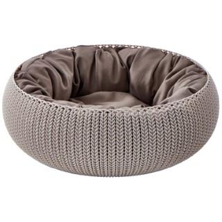 Panier de couchage rond aspect tricot avec coussin Curver 297931