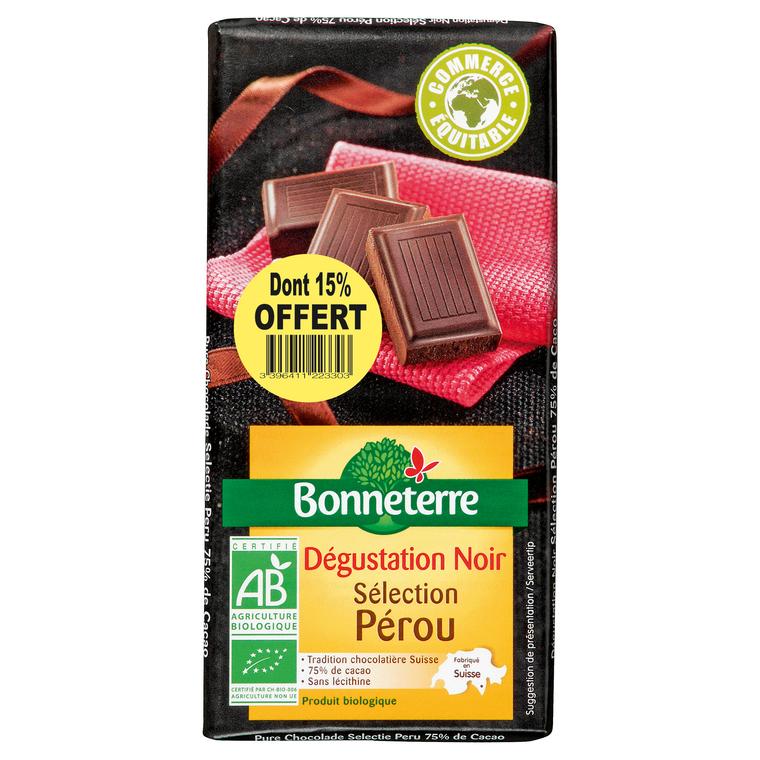 Chocolat noir Pérou dont 15% gratuit BONNETERRE
