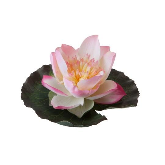 Fleur de lotus rose artificielle flottante sur feuille – 15 cm
