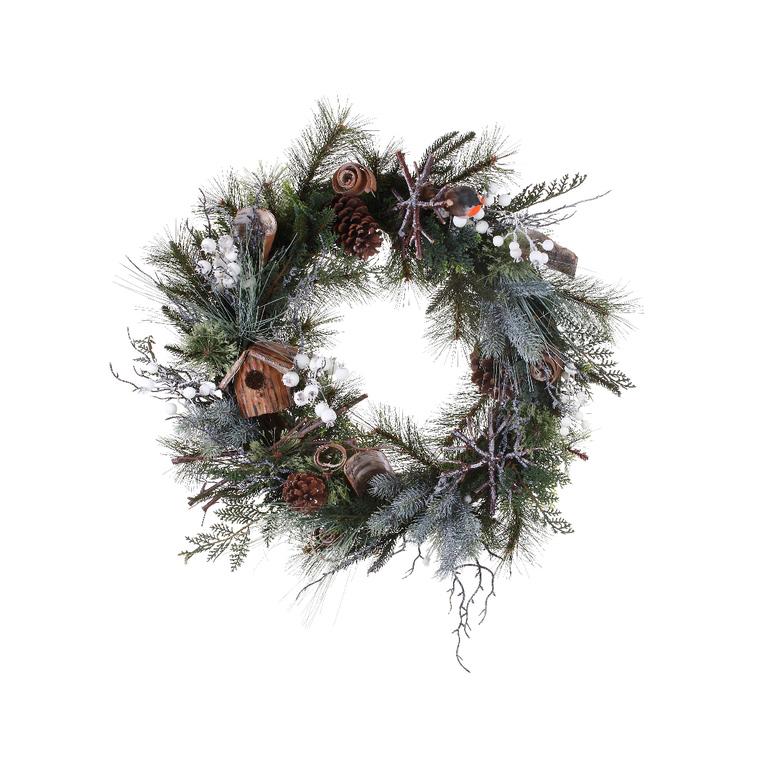 Couronne de Noël Décor nichoir diamètre 40 cm