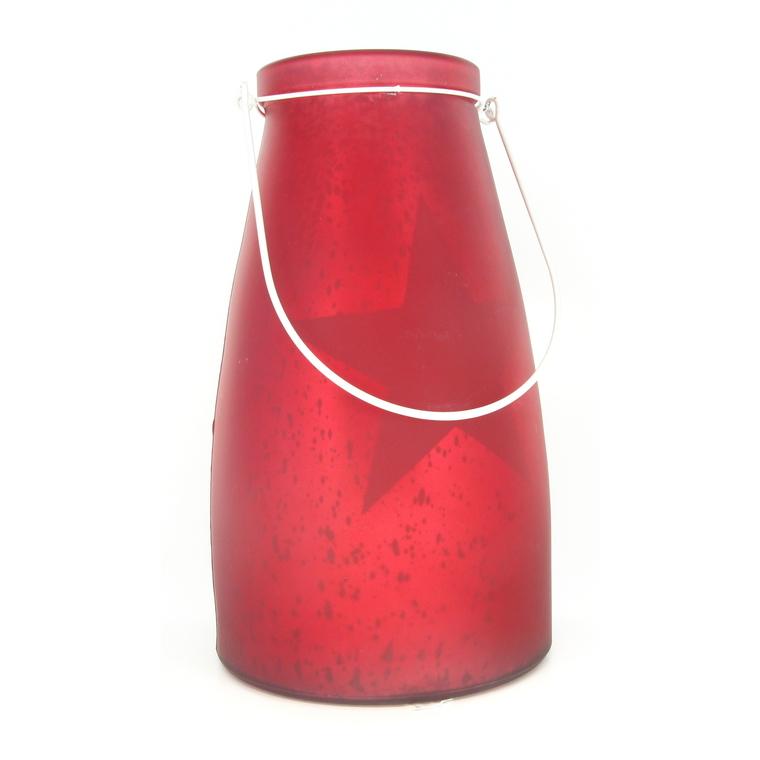 Verre bocal rouge avec étoile lumineuse 10 LED de 13x15 cm
