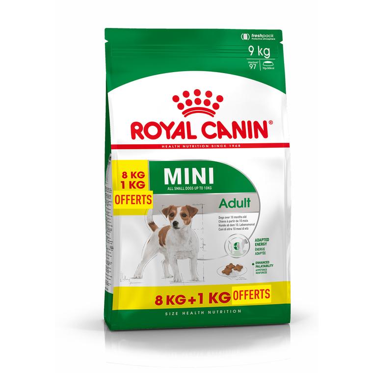 Mini Adult croquettes pour très petit chien adulte 8 kg + 1 kg offert 210782