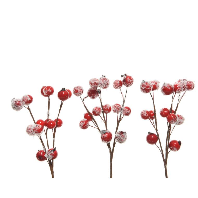 Suspension paille et baies rouges enneigées 15cm (lot de 3 suspensions) 211995