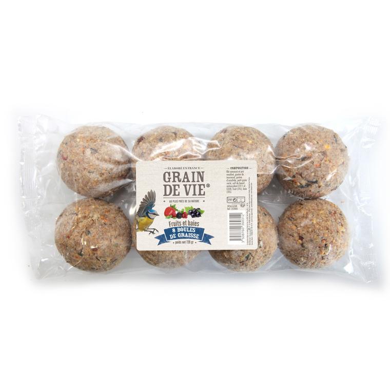 Boules de graisse aux fruits et baies pour oiseaux x 8 de 720 g 222085