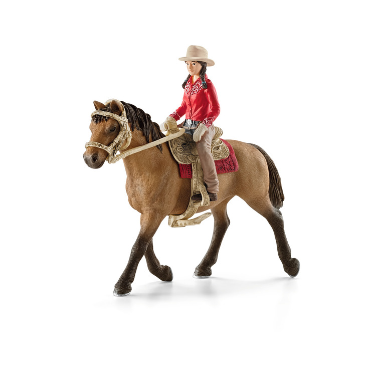 Figurine Cavalière Western Série Horse Club 15x8,5x18 cm 225472