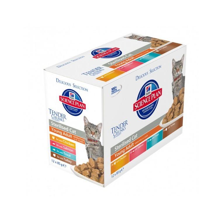 Pack de sachets pour chats stérilisés Delicious - 12 x 85 gr 229861