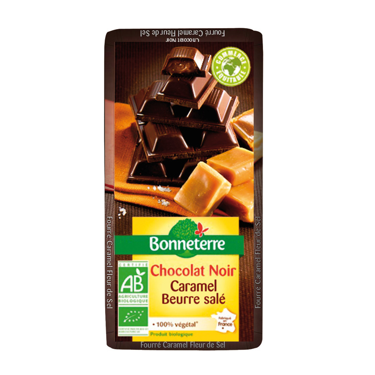 Chocolat noir fourre caramel fleur de sel 100 g BONNETERRE 234372
