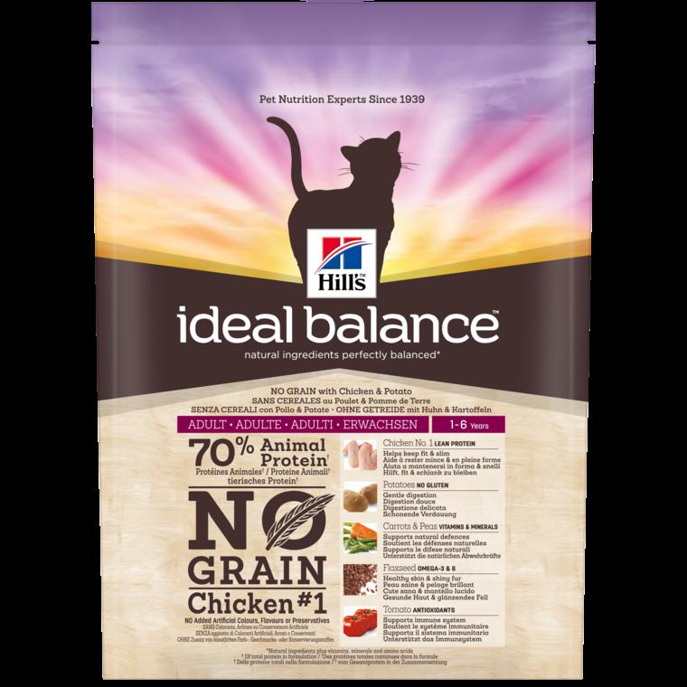 Croquettes féline adulte idéal balance sans céréales au poulet 300 g 234713