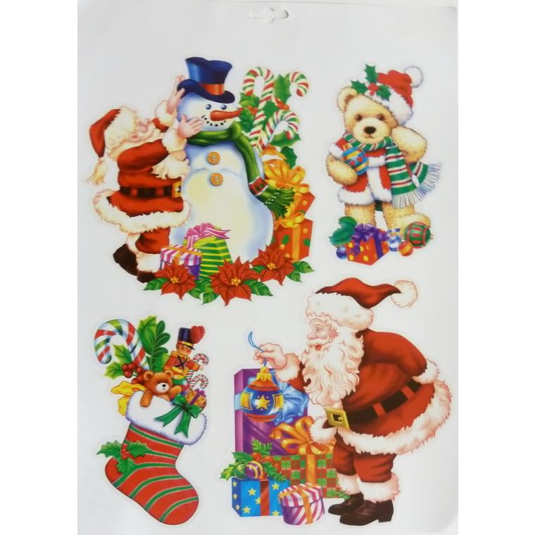 Étiquettes pour fenêtre Noël coloris rouge 42 x 30 cm 242418