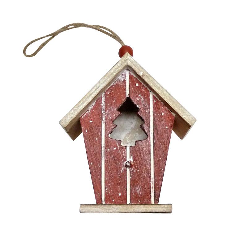 Suspension maison avec sapin bois 20 cm 247093